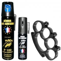 Bombe lacrymogène PUNCH 75ml GAZ + 25ml GEL et Poing américain tête de mort noir