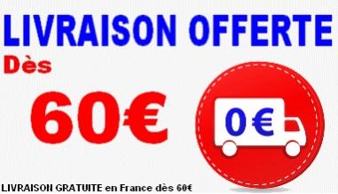 Livraison GRATUITE dès 60 euros d'achat partout en France !
